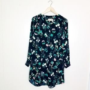 Loft Floral Long Sleeve Classy Career Shirt Dress